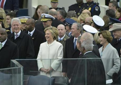 Hillary Clinton was next to George W. Bush at the inauguration.